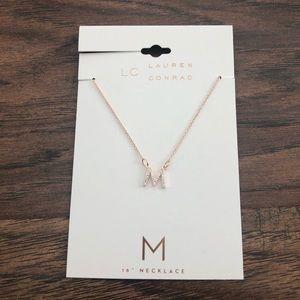 LC Lauren Conrad Rose Gold M Initial Necklace